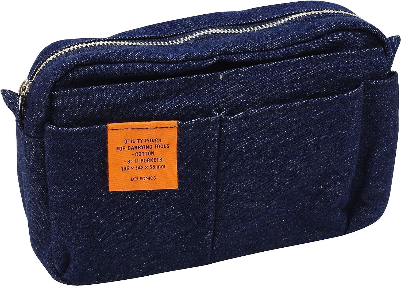 DELFONICS Inner Carrying  Cotton Pouch Medium size Denim Dark Blue  Stripe Bag in Bag from Japan