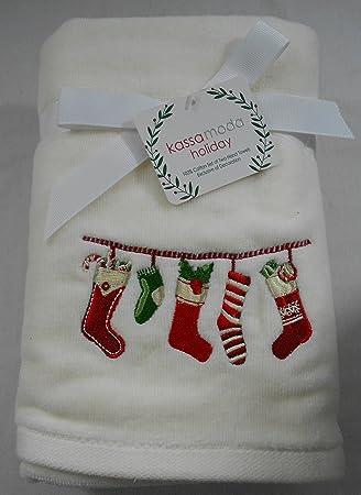 Kassa moda vacaciones Navidad bordado calcetines toallas de mano Set de 2: Amazon.es: Hogar