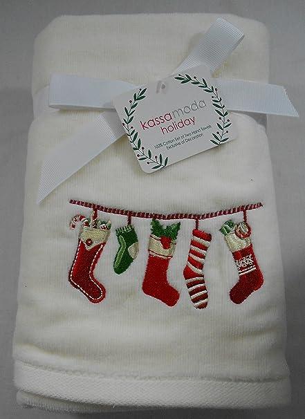 Kassa moda vacaciones Navidad bordado calcetines toallas de mano Set de 2