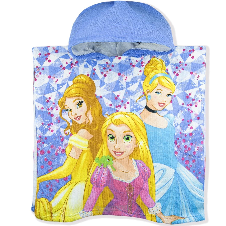 Disney Princess licenza ufficiale ragazze in cotone con cappuccio poncho asciugamano perfetto per bagno e spiaggia in microfibra–Nuova collezione 2018 Blue SunCity