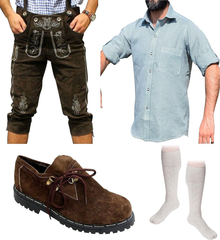 Herren Trachten Set E 5-teilig Trachten Lederhose Dunkelbraun 46-60 Trachtenhemd Schuhe Socken