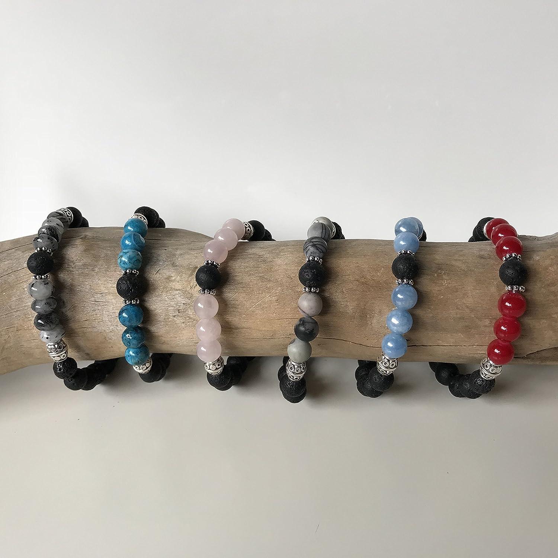 Aromatherapy Diffuser Bracelet Light Blue Angelite Essential Oil Bracelet