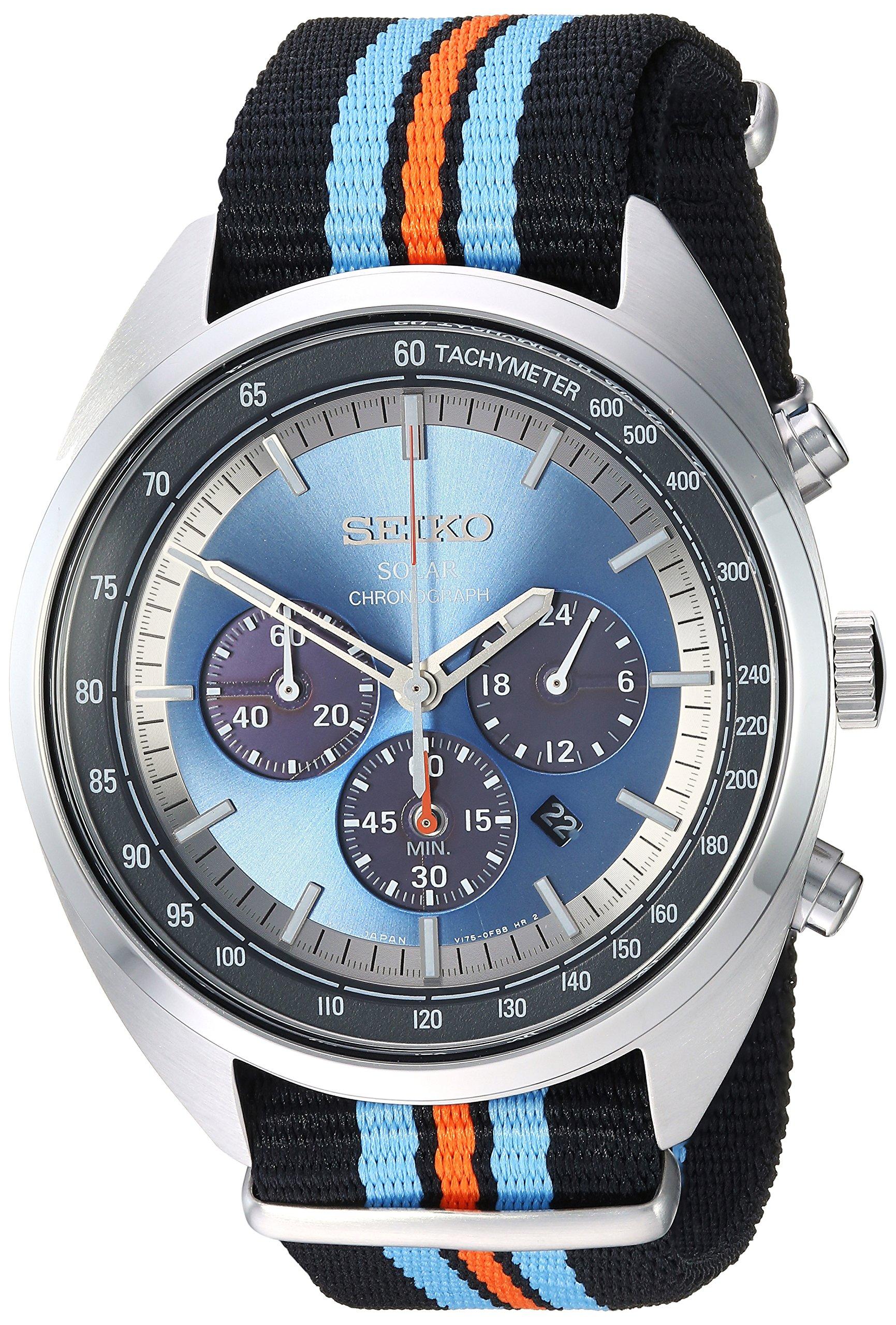 Seiko Men's RECRAFT Series Stainless Steel Japanese-Quartz Watch with Nylon Strap, Black, 21.65 (Model: SSC667) by SEIKO