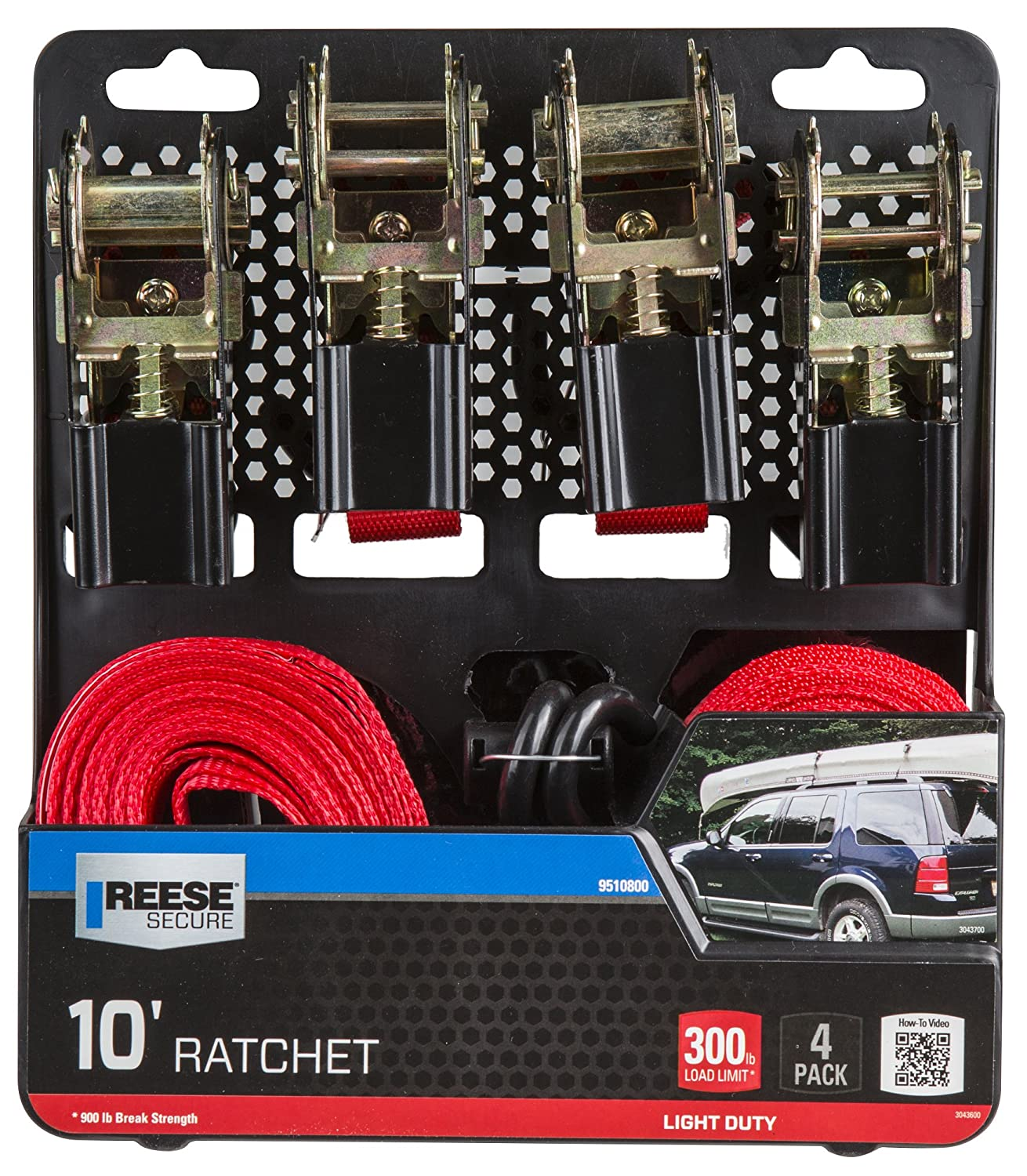 Reese Secure 9510800 10 Light Duty Ratchet with Metal Handle 4 Pack