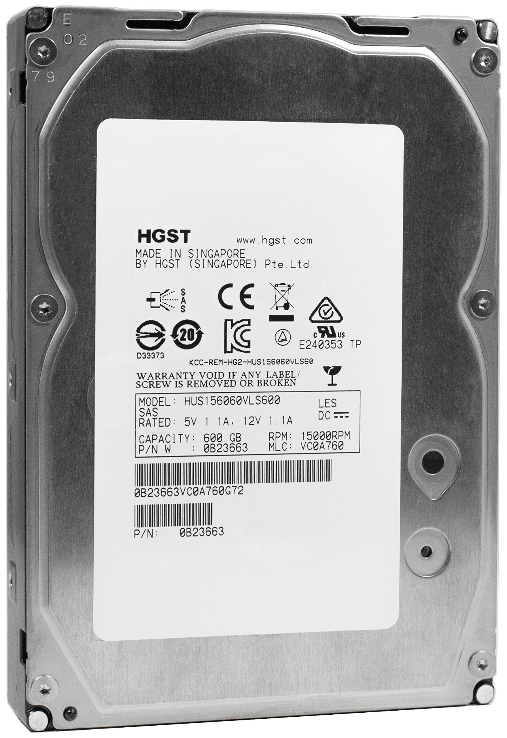 HGST Ultrastar 15K600 | 600GB 15K RPM SAS 6Gb/s 64MB Cache 3.5'' Inch | 1.6 Million MTBF | HUS156060VLS600 | Enterprise Hard Disk Drive With Mission Critical Performance (HDD)