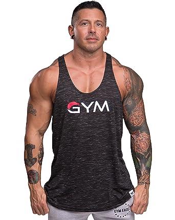e6cd5feda Men's Gym Stringer Tank Top Bodybuilding Athletic Workout Muscle Fitness  Vest (Small, Black)
