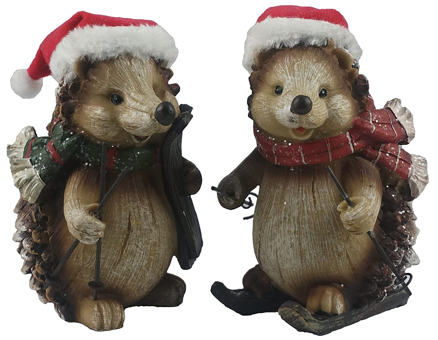 Special T Imports Woodland Hedgehogs Skiing with Santa Hat Figurines - Set of 2