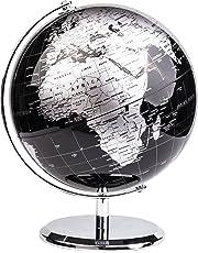 Exerz World Globe (Dia 20cm) – Educational/Geographic/Modern Desktop Decoration - with a Metal Base - Metallic Black (Diametre 20cm)