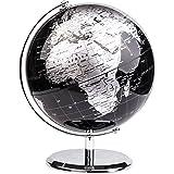 Exerz 20CM Mappamondo/World Globe/Globo in Inglese - Decorazione Desktop/Educazione/Geografica/Moderna - Con Base in Metallo (20CM Nero Metallizzato)