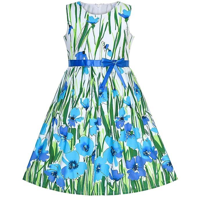 7de16e2b7 Sunny Fashion Vestido para niña Rosa Flor Algodón Sin Mangas Sol 4-12 años:  Amazon.es: Ropa y accesorios