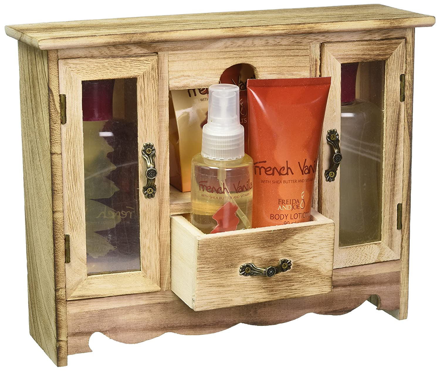 French Vanilla Spa Bath Gift Set in Natural Wood Curio,shower Gel,bubble Bath, Bath Salt,body Lotion,body Spray Freida & Joe FJ-32