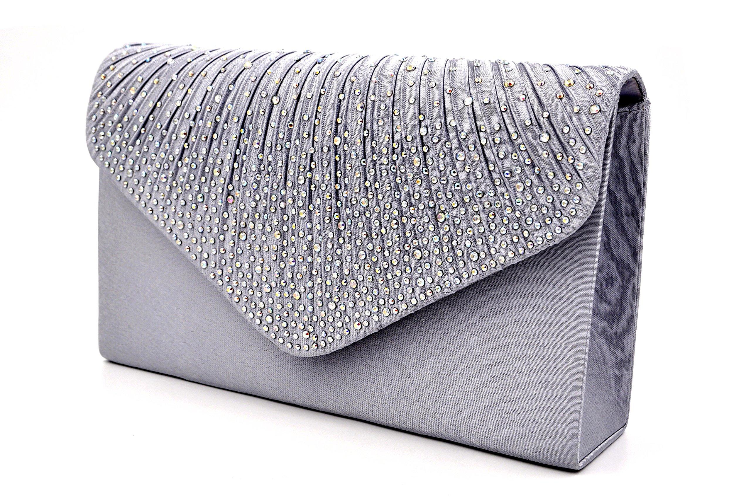 Nodykka Women Evening Envelope Rhinestone Frosted Handbag Party Bridal Clutch Purse,One Size,Gary