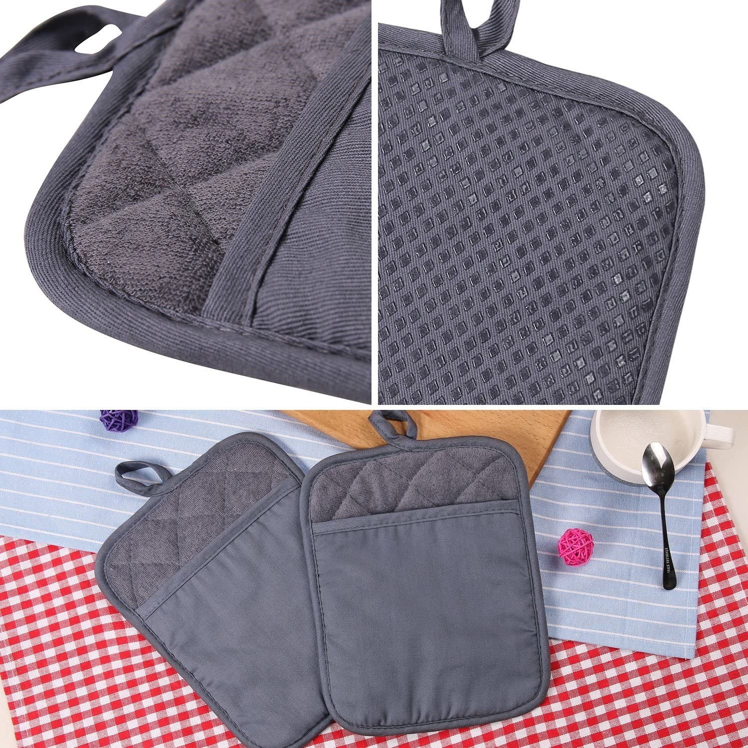 100% Cotton with Silicone Kitchen Everyday Basic Pot Holder Heat Resistant Coaster Potholder Oven Mitts with Pocket for Cooking and Baking Set of 2 Grey: Home & Kitchen