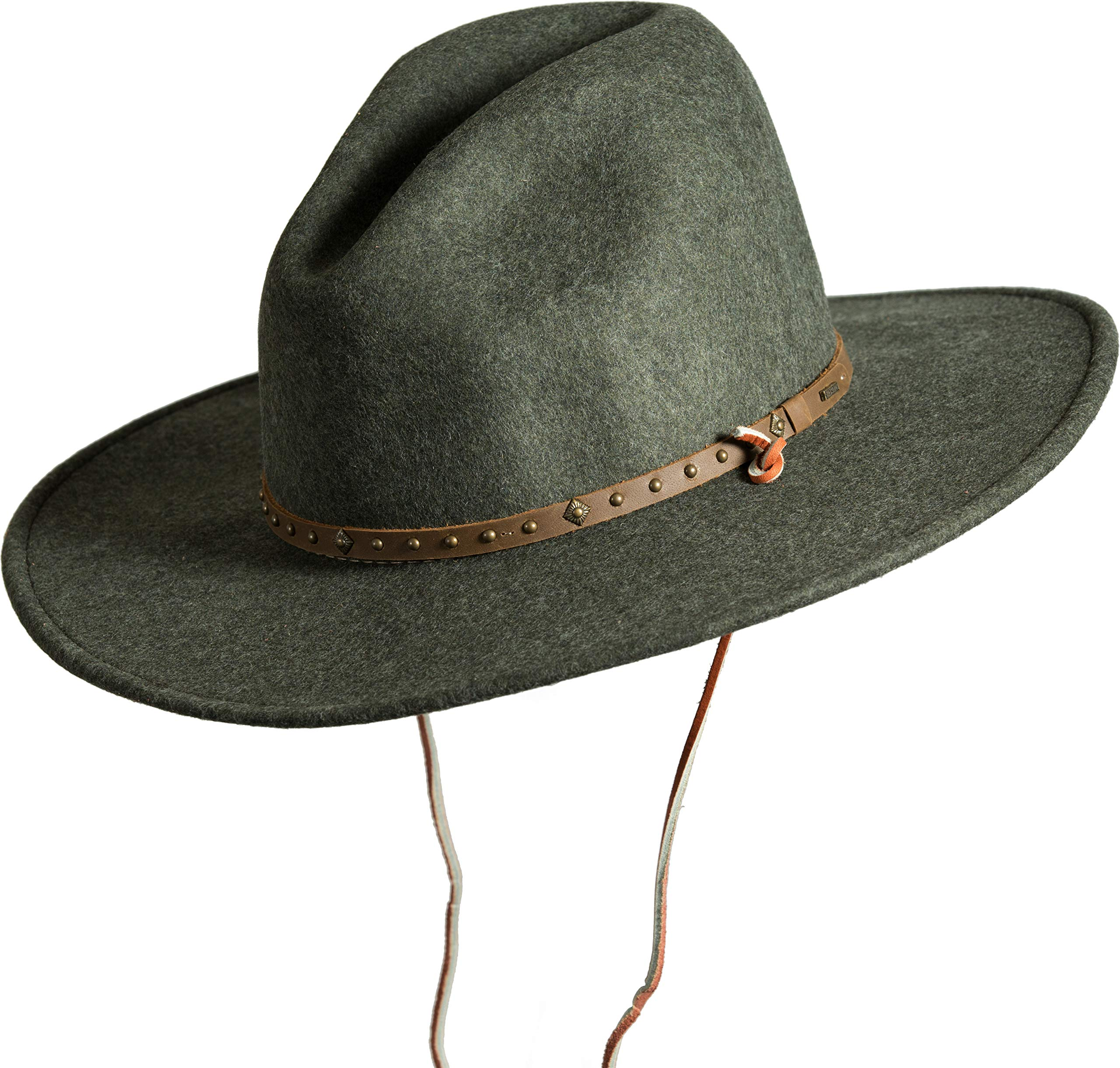 Men's Lonesome Trail Crushable Wool Stetson Hat, OLIVE MIX, Size SMALL by Stetson (Image #1)