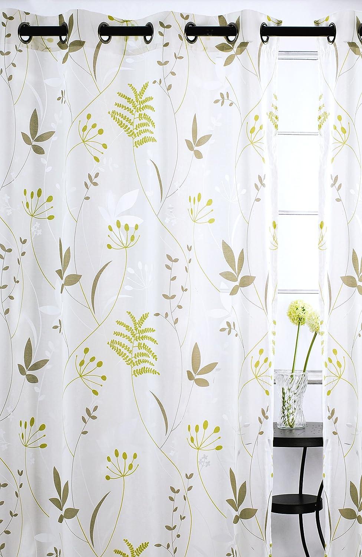 Amazon.com: Blossom Sheer Leaf Burnout Grommet Curtain Panels (Set ...