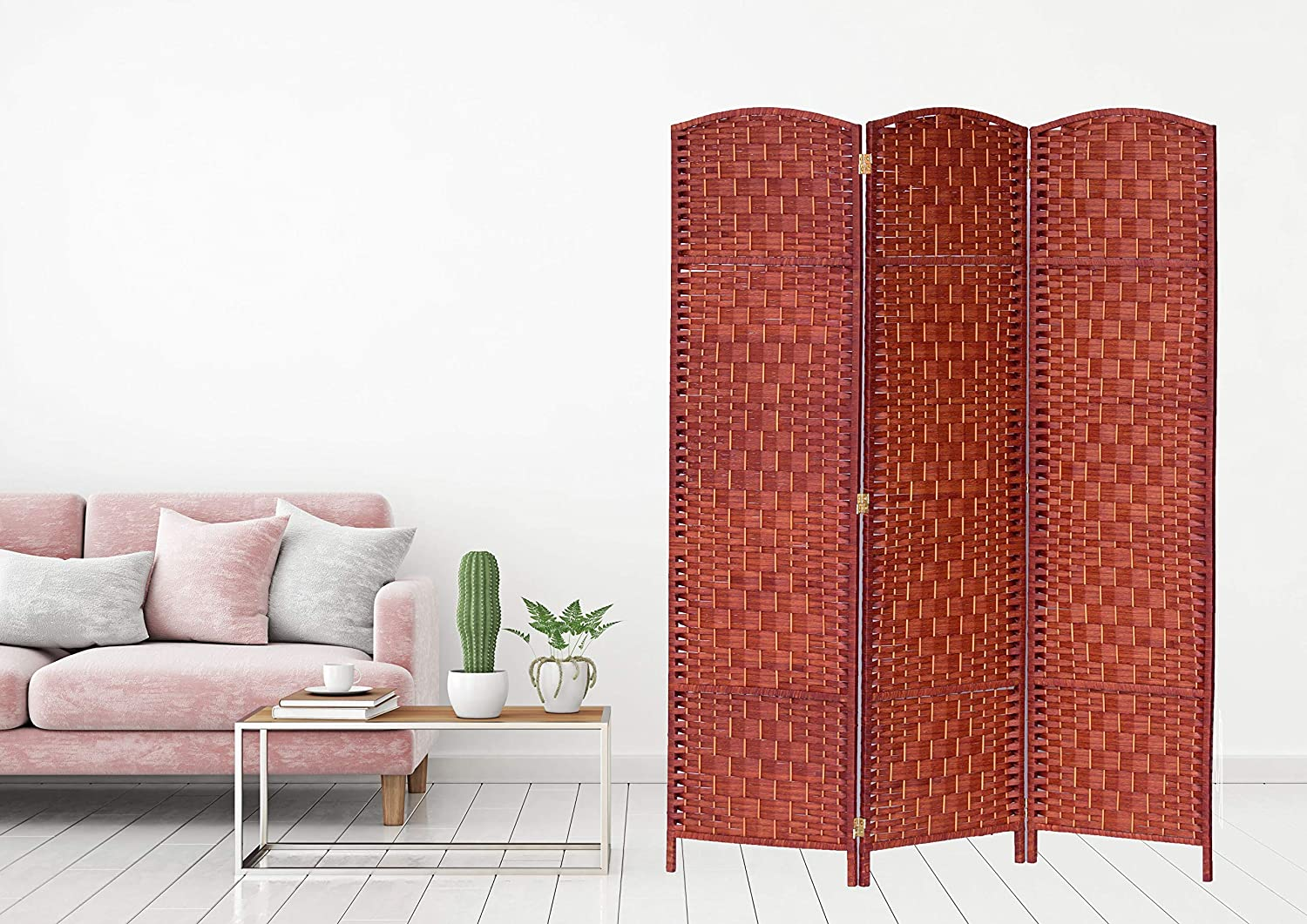 Legacy Decor 3 Panels Room Divider Privacy Partition Screen Bamboo Fiber Weave Honey Color 5.9 ft High X 4.33 ft Wide