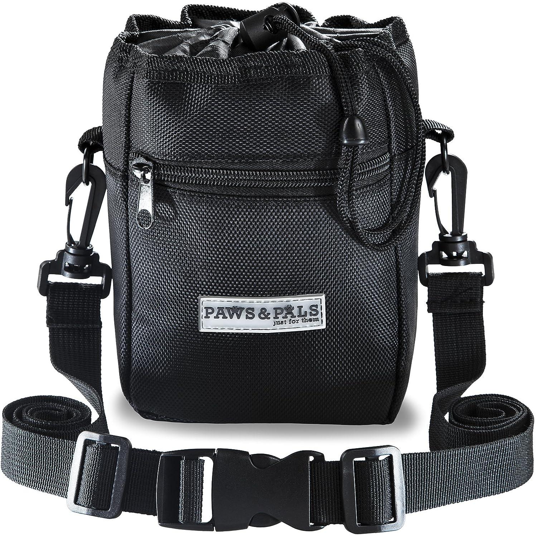 Paws /& Pals Dog Treat Training Pouch Bag Built-in Poop Bag Dispenser Holds Pet Toys Kibble /& Treats Black 3 Ways to Wear