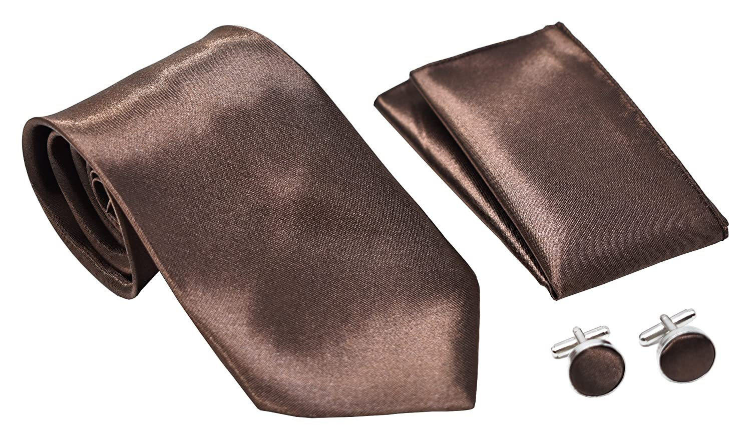 Kingsquare Solid Color Men's Tie, Pocket Square, and Cufflinks matching set TPC5150