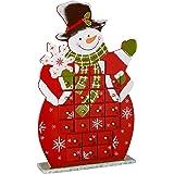 WeRChristmas Wooden Snowman Advent Calendar Christmas Decoration, 41 cm - Multi-Colour