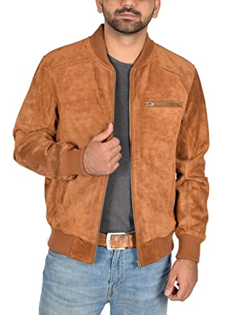 ffd70ef4fdcc Mens Classic Fit Baseball Genuine Soft Suede Leather Bomber Jacket Reg Tan  (Small)