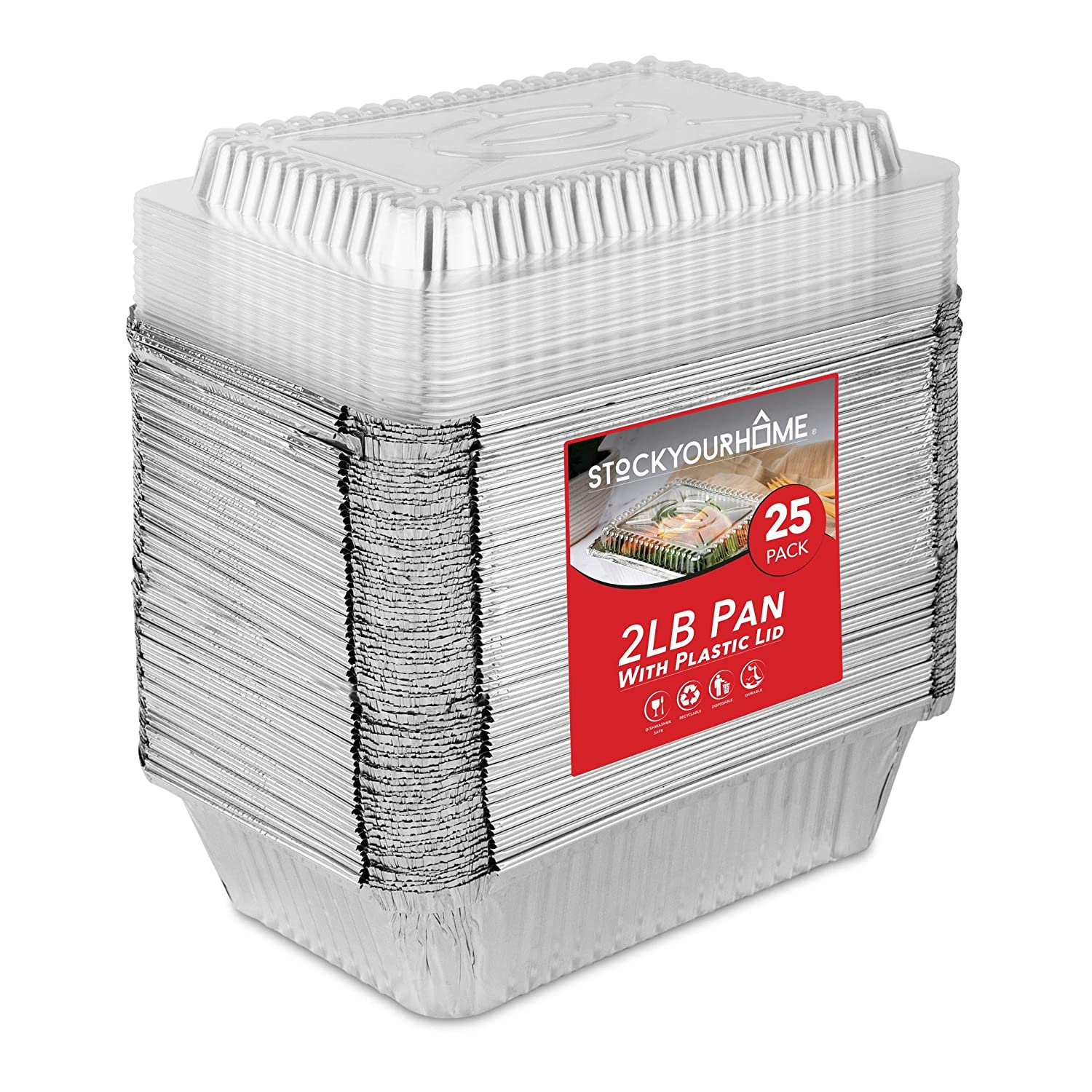 Stock Your Home 2 Lb Aluminum Pans Disposable with Lids (25 Pack) - Food Containers Clear Plastic Lids - Disposable & Recyclable Takeout Trays - Disposable Cookware for Restaurants, Catering, Deli