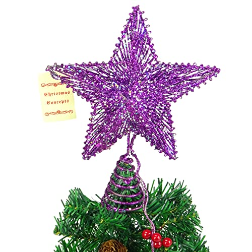 10 purple springy star with white led lights christmas tree top star christmas