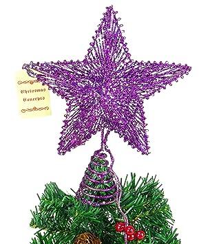 Weihnachtsbaumspitze Gro/ß 35cm in Hochglanz Lila Baumspitze Spitze Tannenbaumspitze Christbaumspitze Weihnachtsbaum Christbaum Tannenbaum Christmas Tree Top