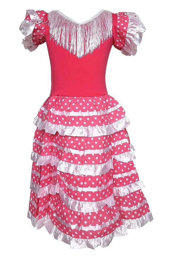 La Senorita Vestido Flamenco Español Traje de Flamenca chica/niños rosa blanco: Amazon.es: Ropa y accesorios