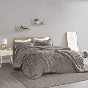Intelligent Design Malea 2 Piece Shaggy Faux Fur Comforter Solid Plush Double Sided Box Design Modern Casual All Season Quilt Bedding Set with Matching Sham, King/Cal King, Grey