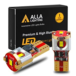 Alla Lighting Newest 194 LED Bulbs Super Bright T10 175 168 2825 W5W ZES SMD 12V LED Bulbs for Car License Plate Tag Interior Map Dome Trunk Courtesy Lights, 6000K Xenon White