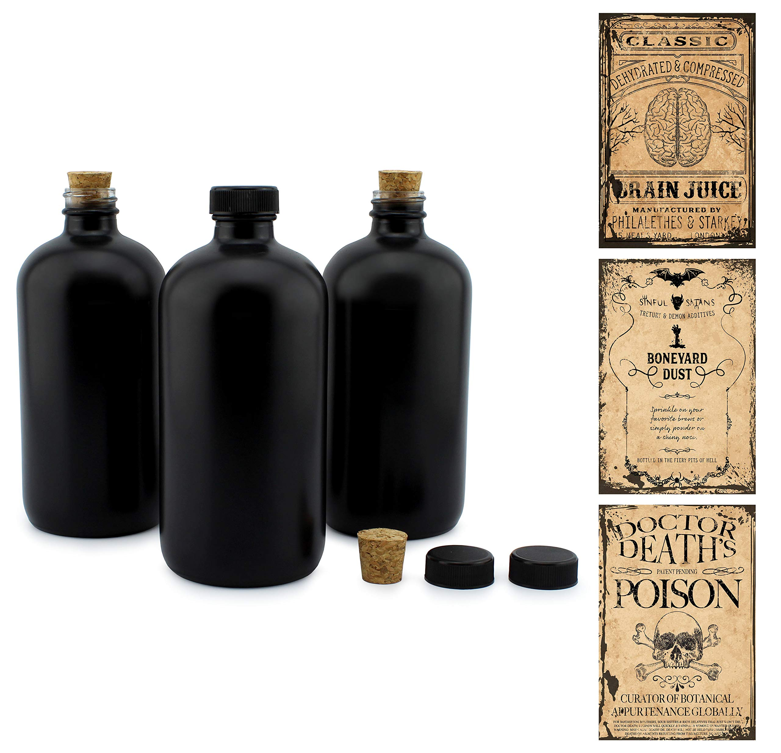 Cornucopia Brands Black 16-Ounce Glass Apothecary Bottles (3-Pack); Boston Round Bottles with Designer Labels Ideal for Aromatherapy, DIY, Herbal Treatments and Halloween, Matte Black Coated Bottles by Cornucopia Brands