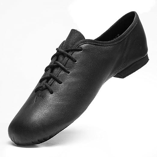 Rumpf Jazzschuhe Basic II 1270 für Gymnastik Jazz Tanz, Leder mit geteilter Chromledersohle Farbe schwarz, Größe 37,5
