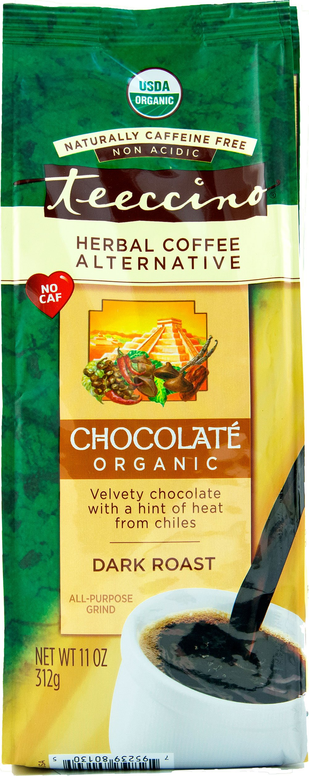 Teeccino Chocolate Organic Chicory Herbal Coffee Alternative, Caffeine Free, Acid Free, 11 Ounce