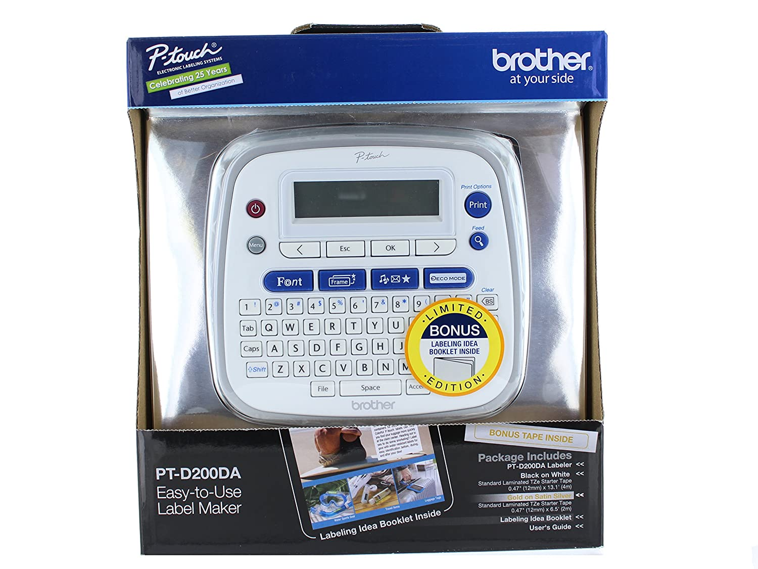 Amazon.com : Brother P-Touch PT-D200DA Label Maker W/ Bonus Tape + ...