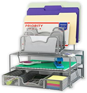 SimpleHouseware Mesh Desk Organizer with Sliding Drawer, Double Tray and 5 Stacking Sorter Sections, Silver
