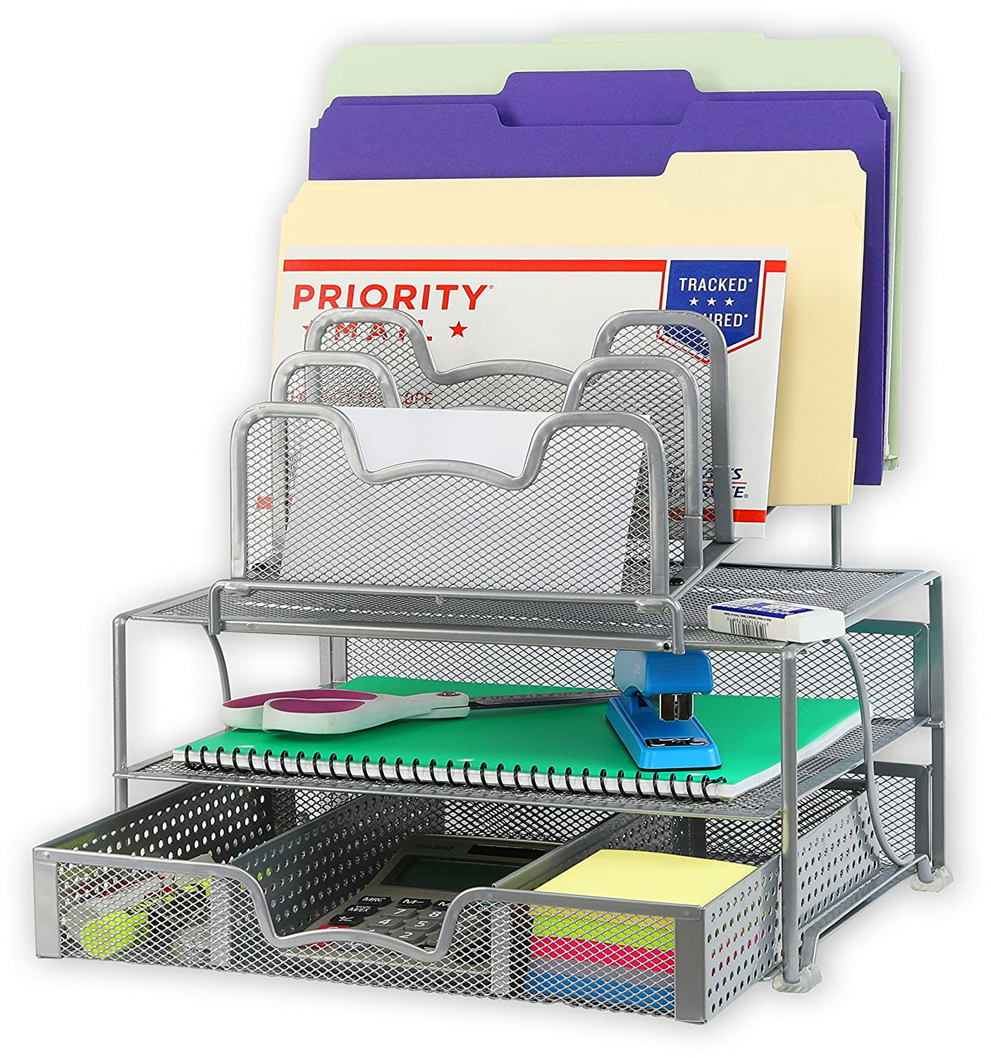 SimpleHouseware Mesh Desk Organizer with Sliding Drawer, Double Tray and 5 Stacking Sorter Sections, Silver Simple Houseware