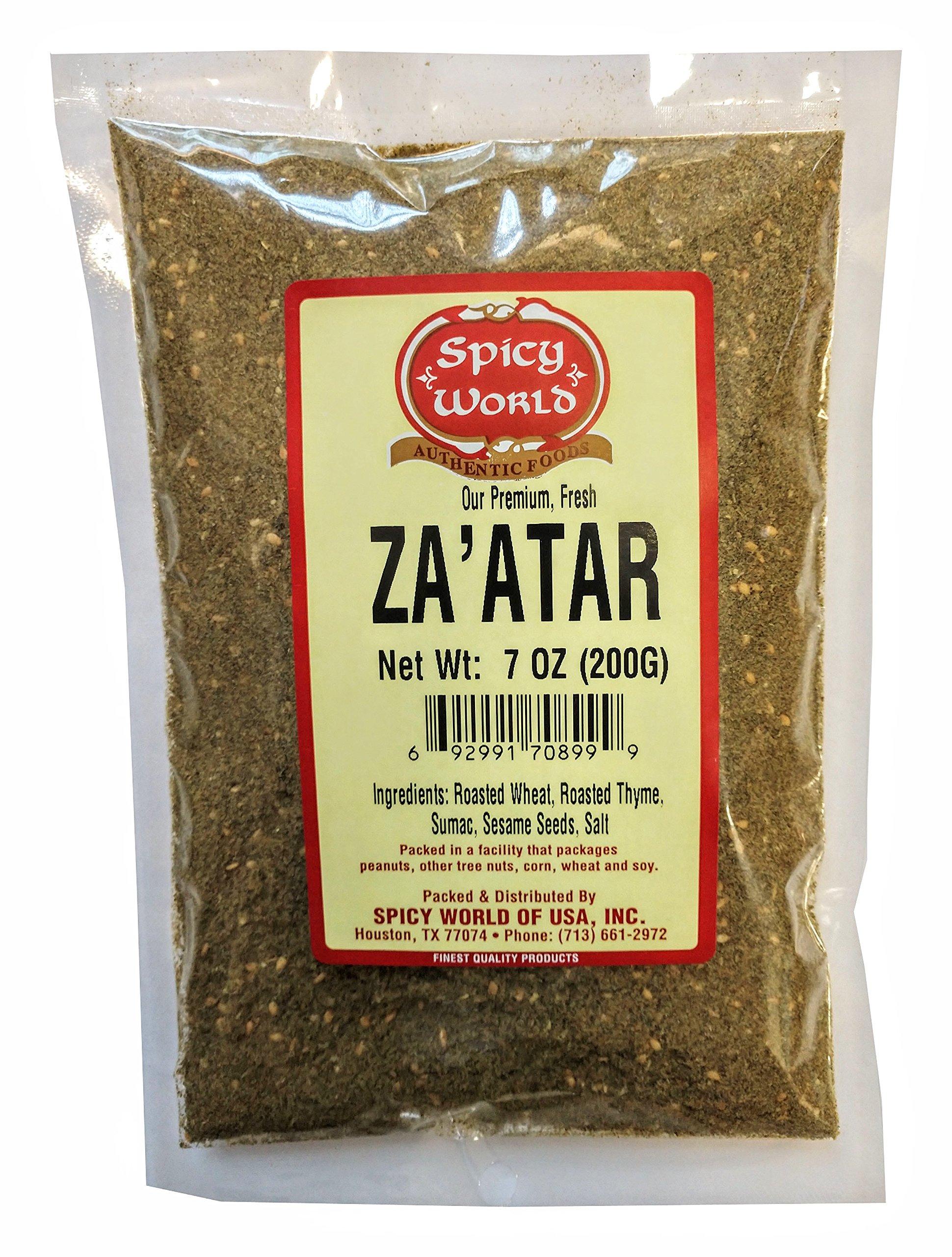 Spicy World Za'atar 7 Ounce - Freshly Packaged with Thyme and Sumac (Zatar/Zaatar/Zahtar)