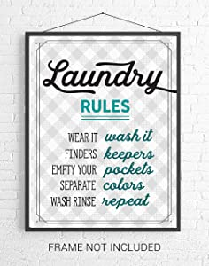 Teal Blue Retro Laundry Room Rules Wall Art Sign - 8x10 UNFRAMED Gray, Teal Blue & White Funny Print Perfect for Modern Farmhouse, Rustic, Vintage, Cottage, Country Decor.