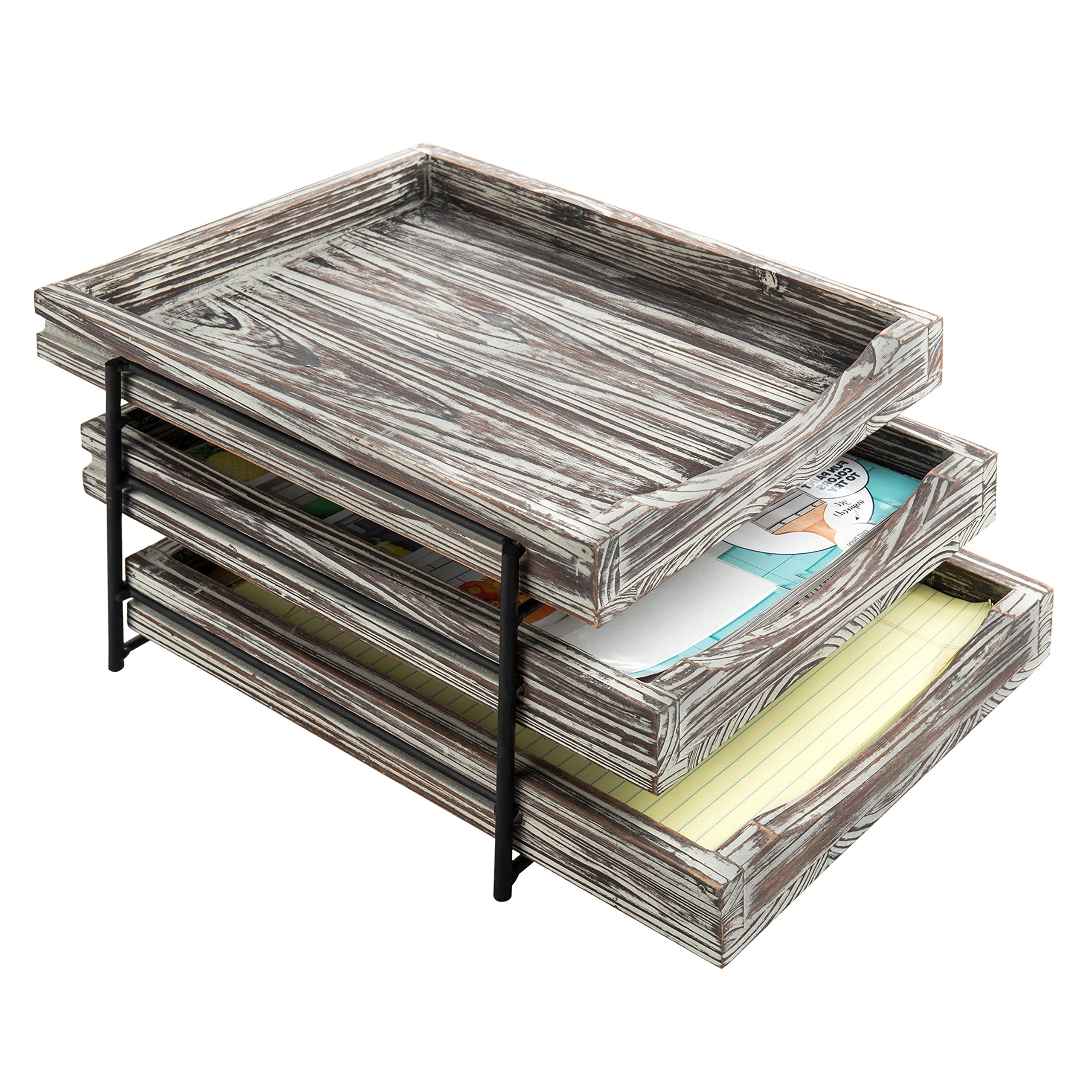 MyGift 3-Tier Rustic Torched Wood & Black Metal Document Organizer with Sliding Trays by MyGift (Image #4)