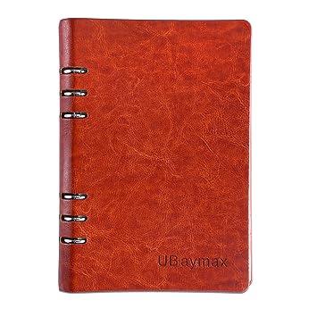 UBAYMAX A5 Libreta, Ubierta de Cuero de la PU Cuaderno de Espiral Libretas Agendas,
