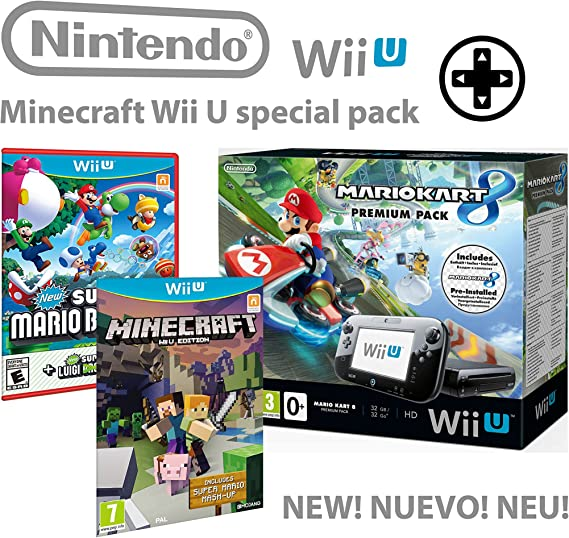 Nintendo consola Premium Pack 32GB Wii U Minecraft Wii U Edition + Mario Kart 8 + Super Mario & Luigi U - Mega Pack 4 Juegos!: Amazon.es: Videojuegos