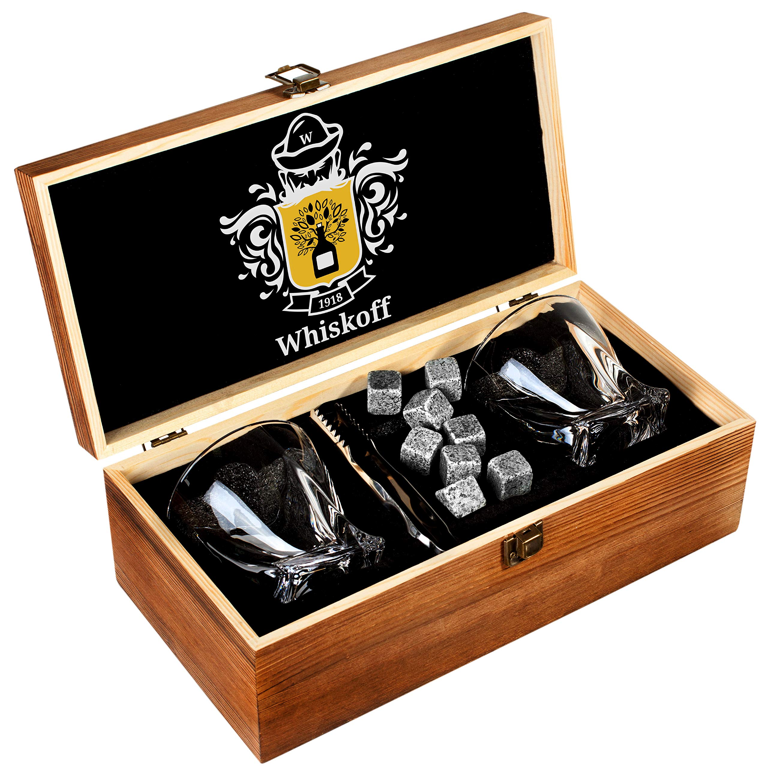 Whiskey Glass Set of 2 - Bourbon Whiskey Stones Gift Set - Twist Scotch Rocks Tongs, Coasters, Chilling Stones & Bar Glasses - Drinking Glasses for Men & Woman - Whiskey Glassware in Wooden Gift Box