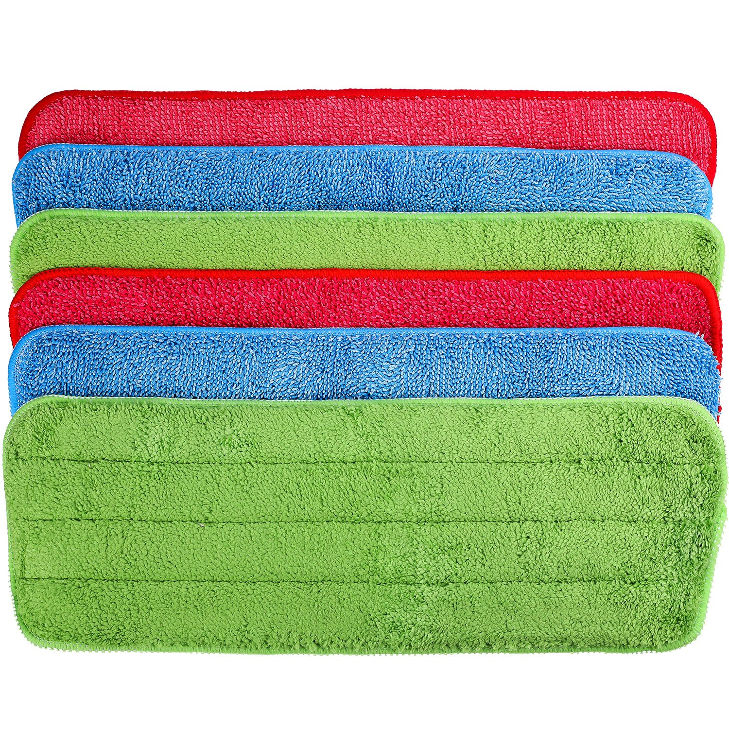 TecUnite 6 Pieces Microfiber Cleaning Pads Reveal Mop 16 x 5.5 inch Fit for Most Spray Mops and Reveal Mops Washable