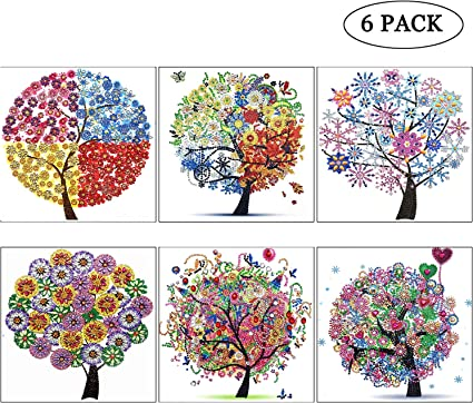 TWBB 5D DIY Diamond Painting Kit for Adult Full Drill Round Diamond Painting Sets,6 Pack Text Style,12x12 inch
