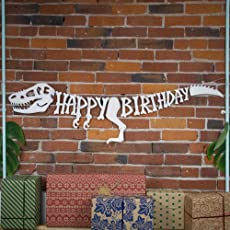 3D Dinosaur Happy Birthday Banner – Dinosaur Party Supplies Decorations – PREMIUM Dinosaur Decorations T-Rex Raptor Design with 3D Shading – NEW for 2018, Realistic, Large and Pre-assembled