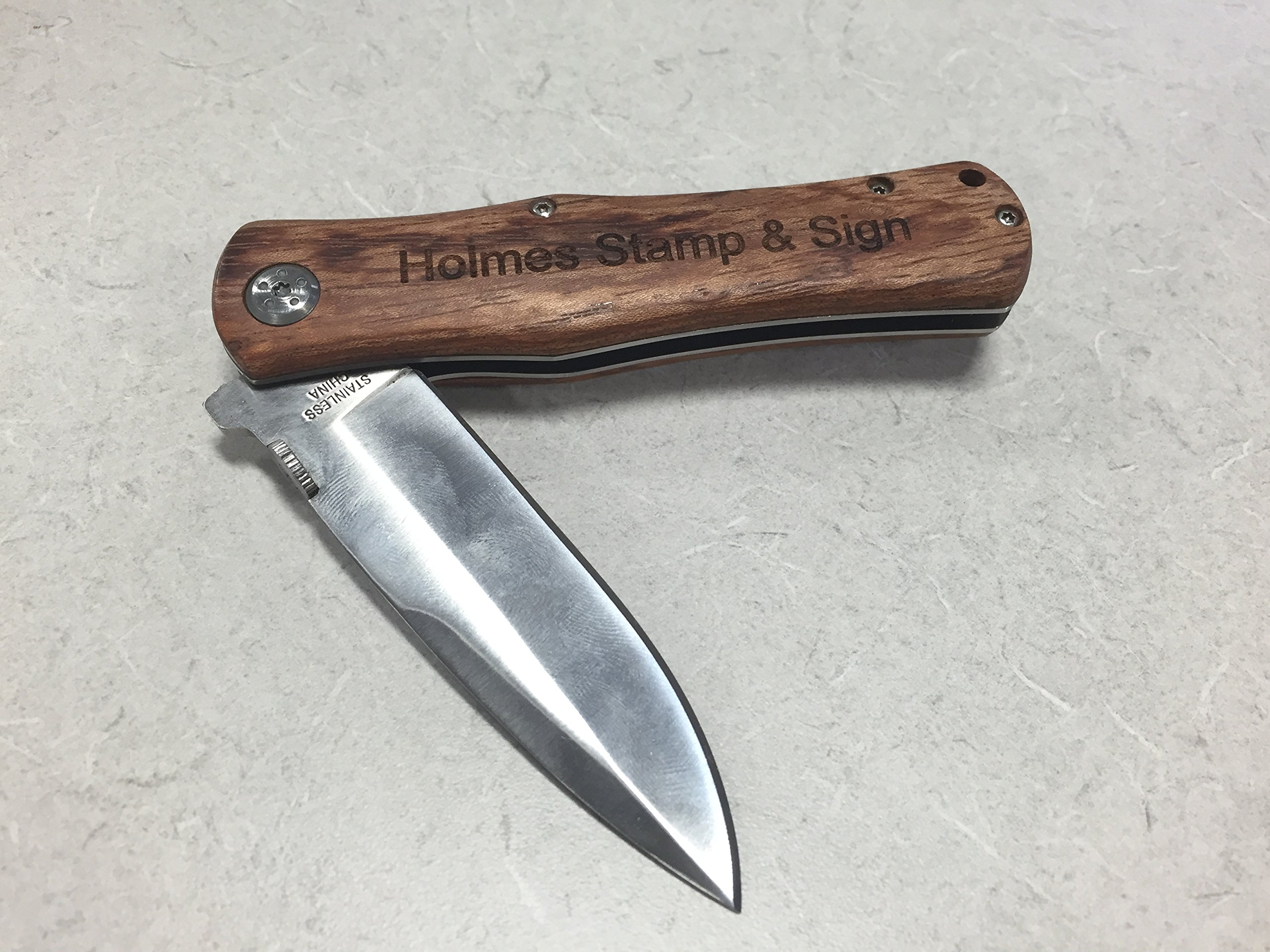 Customized Pocket Knife | Engraved Hunting Knife | Custom Knife Gift |  3 5'' Inch Stainless Steel Blade | Engraved Wooden Handle