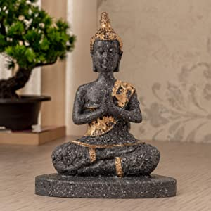 TIED RIBBONS Lord Buddha Statue Figure Home Decorative Items for Table Top Indoor Shelf Bedroom Living Room Decoration and Gifting (Glossy Finish Namaskara Mudra, 12 X 16 cm, L X H)
