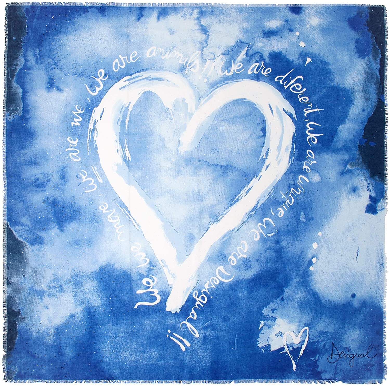 Desigual Foulard Carr/é Femme Heart Bleu 18waif02