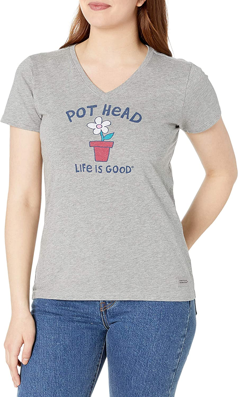 Life is Good Women's Crusher Vee T-Shirt Pot Head Flower