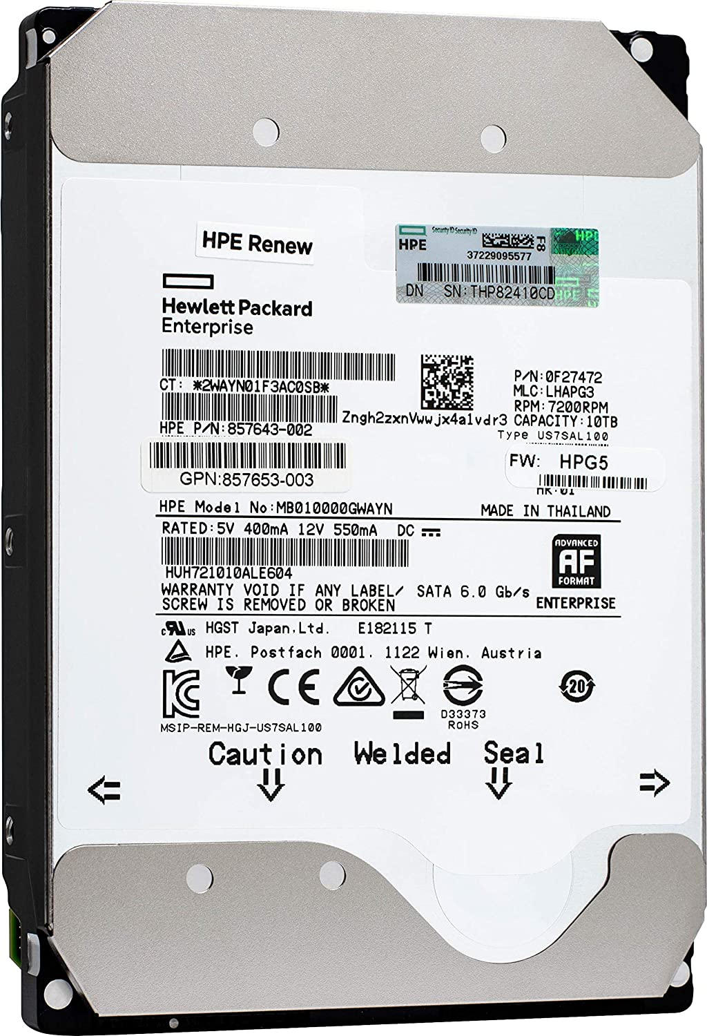 HGST Ultrastar He10 10TB SATA 6Gb/s 7200 RPM 256MB Cache 3.5-Inch Enterprise Hard Drive (HUH721010ALE604) (Renewed)